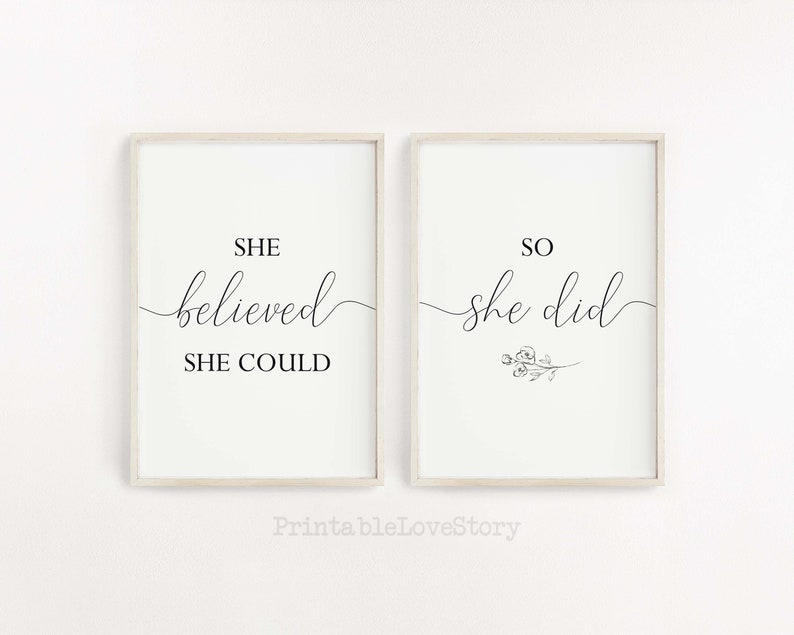 She believed she could so she did sign,Inspirational quote,Home office signs,Office wall decor,Motivational quote,Woman Bedroom wall decor