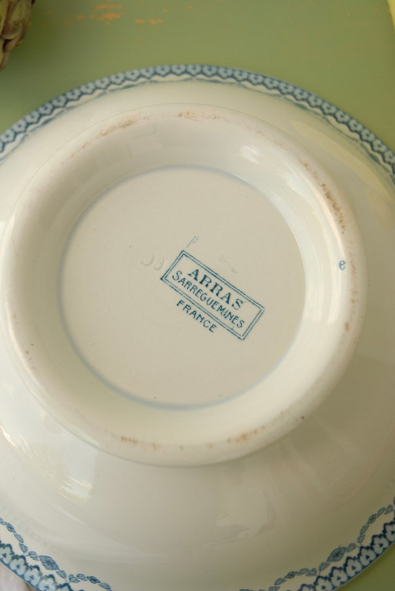 Vintage French  Sarreguemines Pottery Creamware Octagonal Plate France