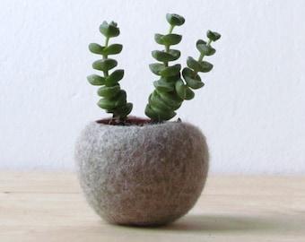 Felt planter / hygge decor / felted bowl / Succulent pod / scandinavian decor / minimalist home decor /air plant vase
