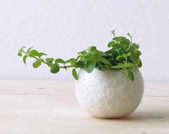 White planter   Felt succulent planter / felted bowl / Mini flower vase vase / White vase / wedding gift / CHOOSE YOUR COLOR!