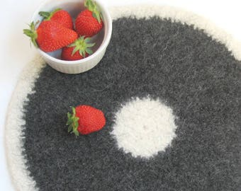 Round placemat   Gift for her, crochet placemat, eco friendly modern placemats, Hygge decor, grandma gift, Birthday gift, wool placemat