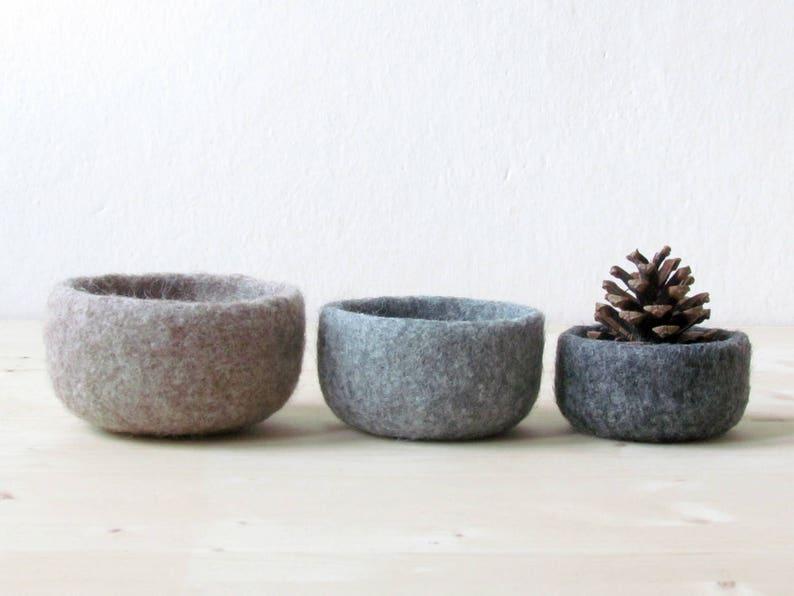 little storage basket Hygge decor Wool anniversary Rustic decor Felted wool bowls Eco friendly gift desktop organizer