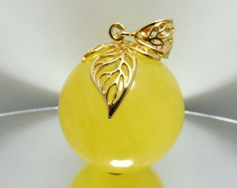Luxury 31.20 grams Lemon Glittering Natural Genuine BALTIC AMBER stone pendant with 925 Sterling Silver chain