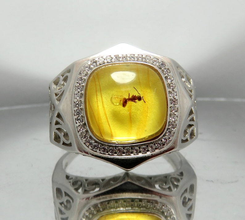 Exclusive 925 Sterling Silver Adjustable Mens Ring with Fossil insect Ant Formicidae inclusion in Natural Genuine Baltic Amber stone