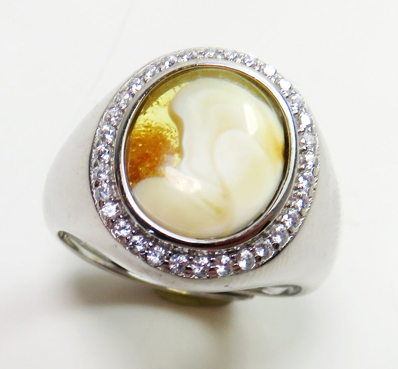 Exclusive 925 Sterling SILVER Adjustable Ring with Yellow White colorful Natural Genuine BALTIC AMBER