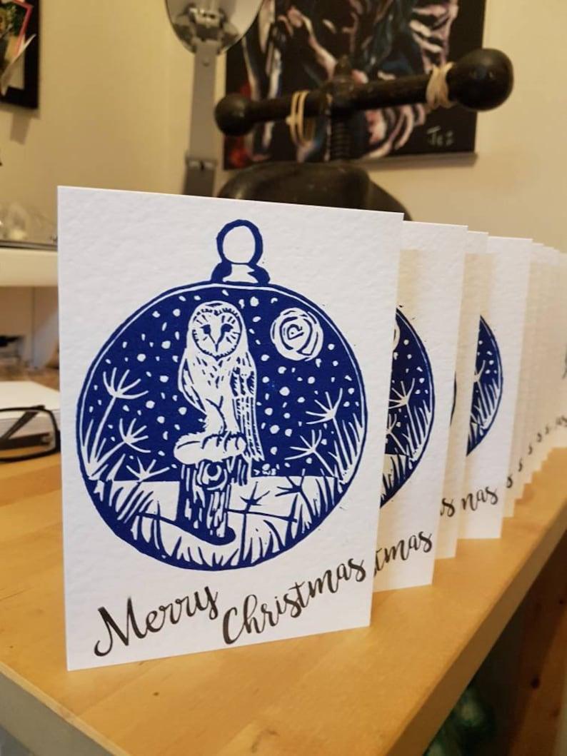 Silent night Owl Christmas card.