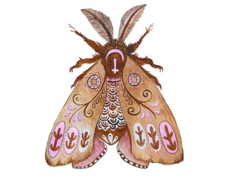 Watercolor painting PATTERNED MOTH / Fine Art Print in pink and burnt umber - original design by Eline Stolp