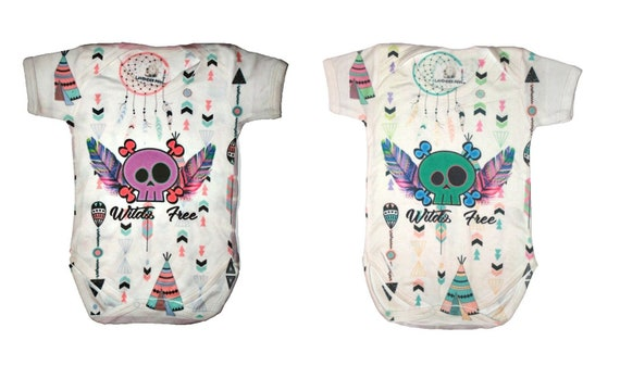 Wild & free Baby vest Sugar Skull Baby grow clothes Christmas gift