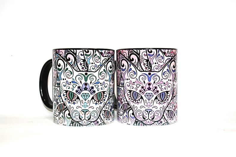 Sugar skull Cats mug Gothic Halloween gift Handmade design cup image 0