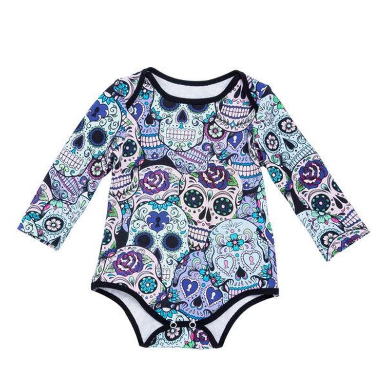 Baby onesie baby grow Sugar Skulls design  free Bib matched Purple