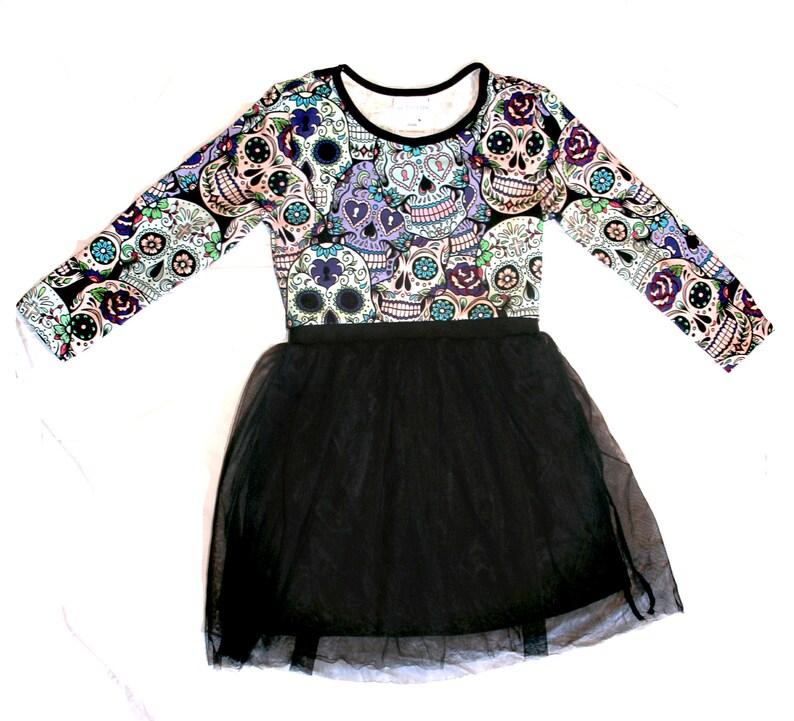 Girl dress Sugar skull little girl dress  party dress  Purple