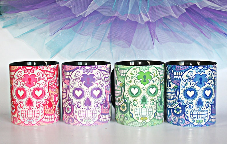 Sugar skull Gothic mug gift Halloween design Hearts cup coffee multi color