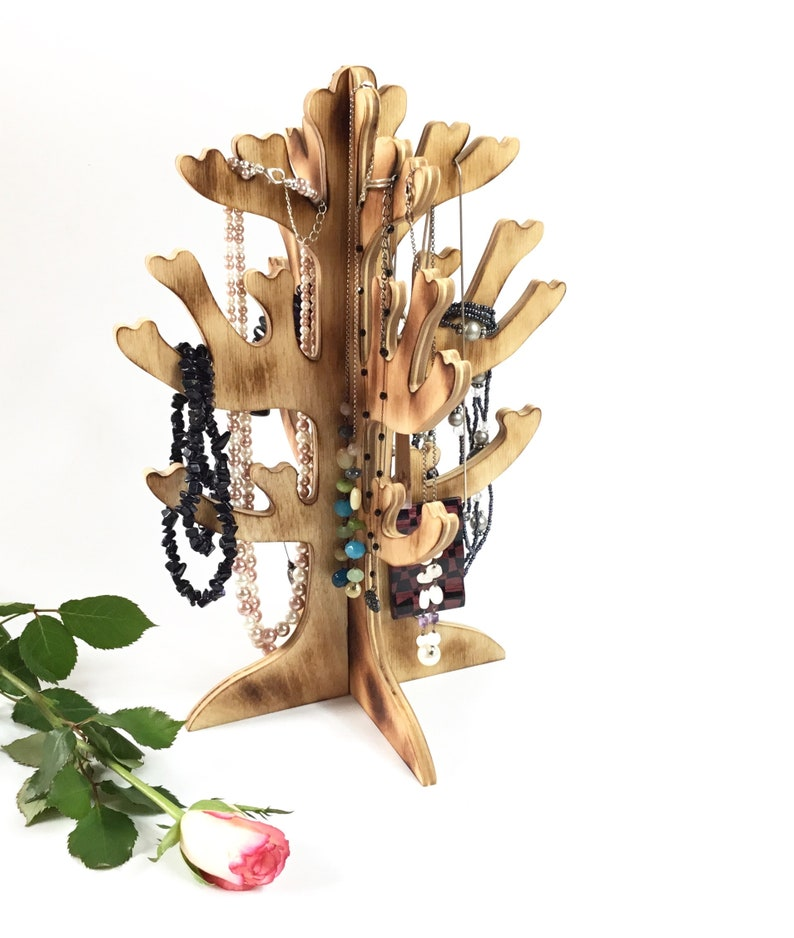 Wooden necklace holder  3D tree shape stand for necklaces  For women