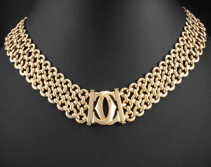 Featured listing image: Cartier Penelope Double C Three Row Gold 18KT Yellow Gold Link Necklace
