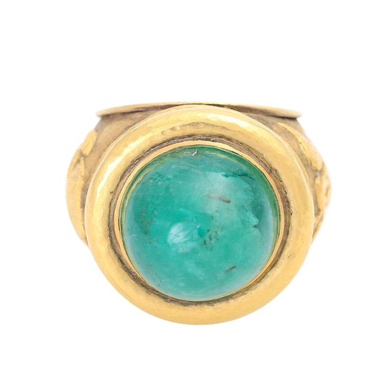 Emerald Ring, 14KT Solid Gold Ring, Emerald Caboch