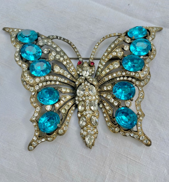 HUGE Signed Staret Blue Rhinestone Butterfly Brooc