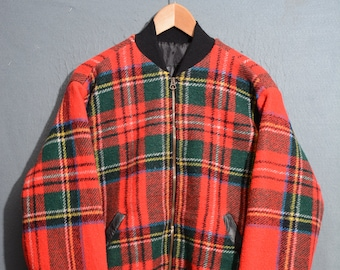Remake TARTAN Jacket-brand new jacket and leather wool and leather, TG m (E53)