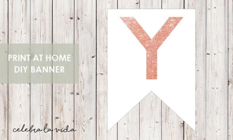 Instant Download /'Y/' Printable Banner Letters - 01 DIY Banner Pink Glitter