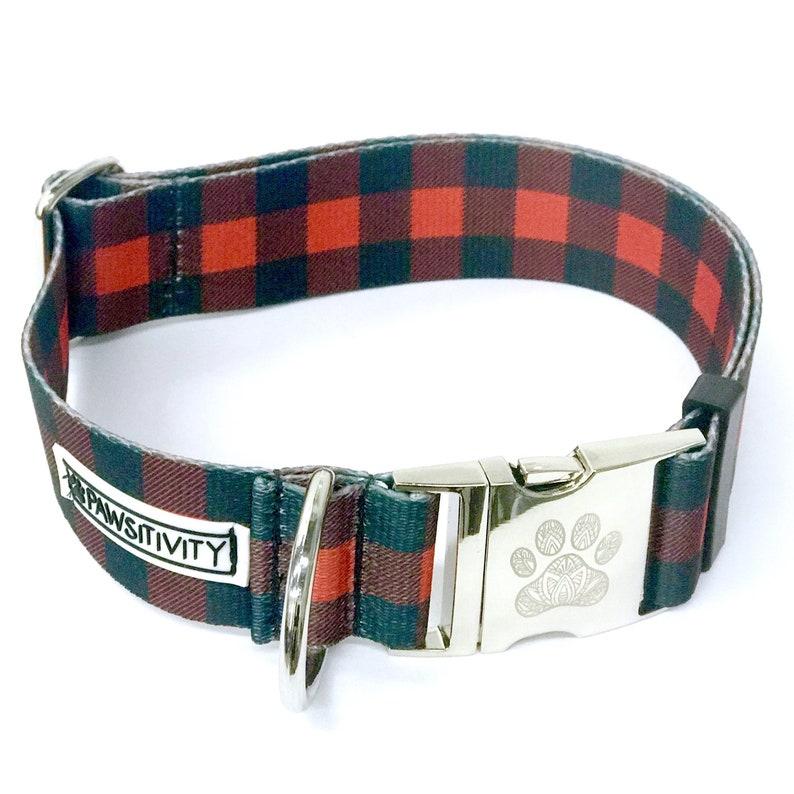 Buffalo Plaid Statement Collar - Red Plaid Collar - Fall Dog Collar -  Hunter Plaid Dog Collar - Mastiff Collar