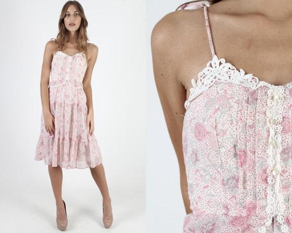 Women's Vintage 70's Pink Floral, Knee Length Mini
