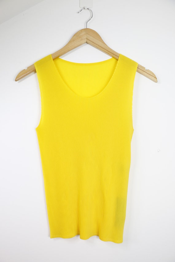 Pleats Please Issey Miyake tank top yellow