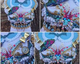 Alice in Wonderland Down the Rabbit hole top • WONDERLAND COLLECTION • ready to ship • alice in wonderland rave bra • festival fashion