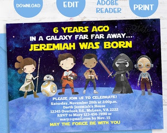 Galaxy Wars Invitation Star Birthday 1st Templates INSTANT DOWNLOAD Editable