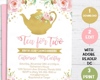 Tea party baby shower invitation etsy tea for two baby shower invitation tea party invite floral pink and gold tea for two blush pastel flowers instant download editable filmwisefo
