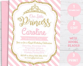 Pink And Gold Princess Birthday Invitation Chevron Girl Invite Glitter Printable Editable Instant Download