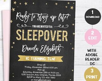 pajama party invite etsy