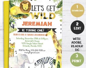 jungle invitations etsy