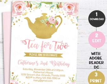 Tea For Two Invitation Party Invite Floral Blush Pink Gold Pastel Flowers 2nd Birthday Girl Instant Download