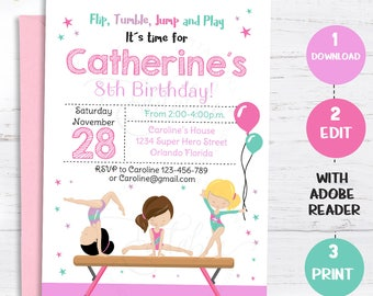 GYMNASTIC Invitation Gymnastics Birthday Invite Girls Invitations Gymnastic Party Editable Template Instant Download