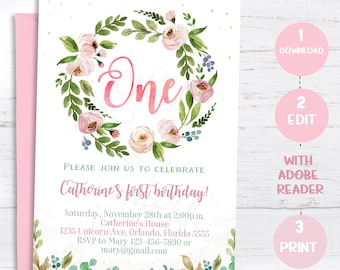 Floral First Birthday Invitation Boho Girl 1st Flowers Invite Printable Digital Editable Template Instant Download