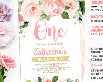 EDITABLE Floral Pink Blush First Birthday Invitation Flower Watercolors 1st Invitations Girl Invite Instant Download Template PDF