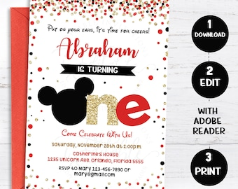 Mickey 1st Birthday Invitation Red Gold Black Mouse Invitate First Boys Glitter Polka Dot Printable Intant Download
