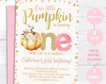 Pumpkin Invitation First Birthday Our Little 1st Invite Pink And Gold Girl Fall Instant Download Editable