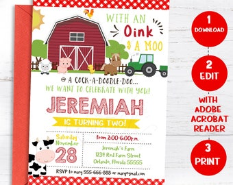 Invitation template etsy farm birthday invitation farm animals chalkboard old mcdonald invite barnyard editable invitation template instand download stopboris Images