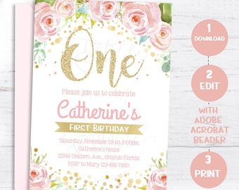 Floral First Birthday Invitations, 1st Birthday Girl Invite, Pink and Gold, Watercolors, Editable Invitation, Template, Instant download