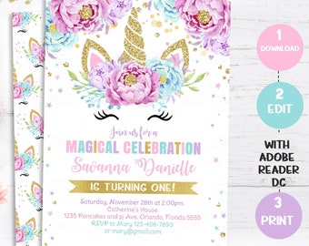 Unicorn Birthday Invitation Magical Invite Floral Face Pink Gold Party Pastel Flower Instant Download