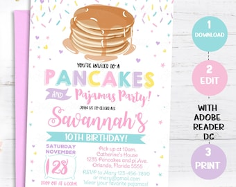 Slumber party invite etsy pancakes and pajamas invitation pancakes pajamas invite birthday party printable girls slumber party instant download editable pdf filmwisefo