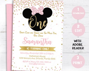 Pink And Gold Minnie Mouse Birthday Party Invitation First 1st Glitter Polka Dot Invite Girl Printable Intant Download