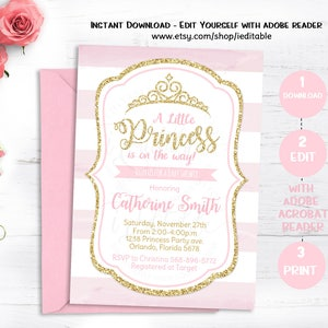 Baby shower invitation etsy pink and gold princess baby shower invitation chevron invitation girl baby shower gold glitter invitation editable instant download filmwisefo