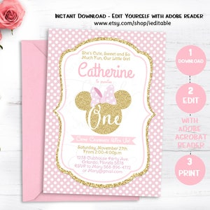 Minnie Mouse Inspired Birthday Invitations Pink polka dots printable customized for you!