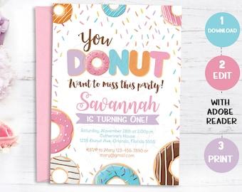 Donut Birthday Invitation, Doughnut Instant download, Editable Template, Donut Invite, Donut Party, Donut Party Invitation Donut Grow Up PDF