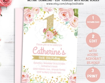 1st Birthday Floral invitation, Girl First Birthday invite, Pink and Gold Flower invitation, Editable Invitations,Template, Instant download