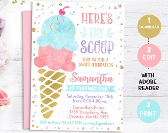 ice cream party etsy