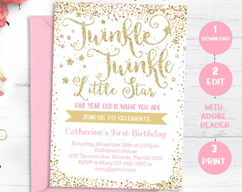 Twinkle Twinkle Little Star Invitation, First Birthday Invite, 1st Birthday, Pink and Gold invitation, Editable invitation Instant download