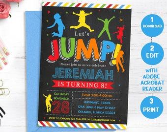 Jump Invitation Bounce House Birthday Invite Trampoline Etsy