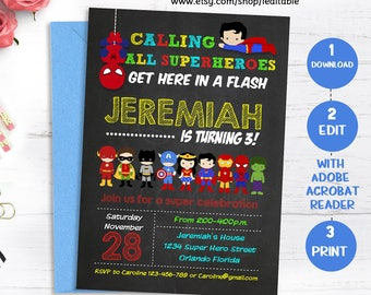Superhero Invitation, Superhero Birthday Chalkboard, Super hero Invite, Superheroes Edit yourself, Editable invitation, Instant download